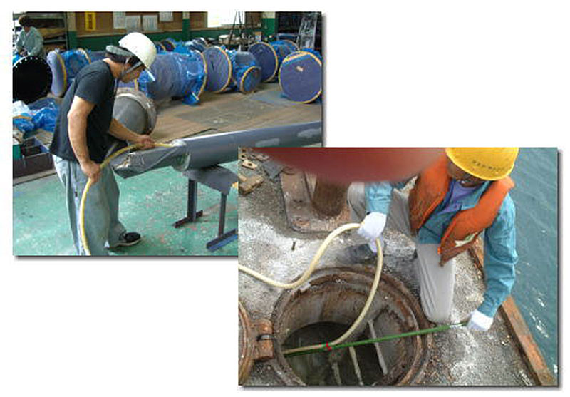 硬質ウレタン発泡材注入工事の様子